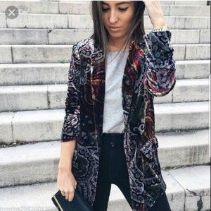 NWOT Zara Paisley Velvet Blazer